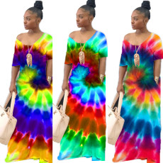 Rotating tie dye positioning dress