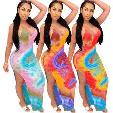 Tie Dye Dress open back sexy long skirt
