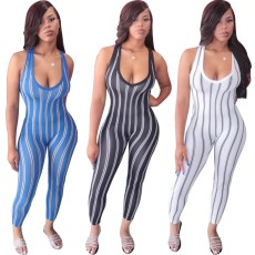 Deep v-stripe sleeveless Jumpsuit