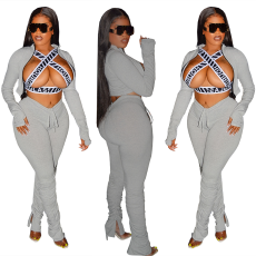 Fashion casual long sleeve zipper pleated Pants Set