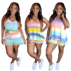 Sports casual stripe color printed Shorts Set