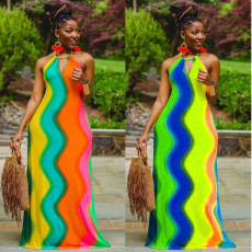 Fashion sexy stripe rainbow print dress
