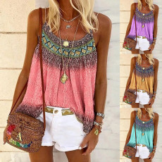 Casual loose positioning print Halter Top