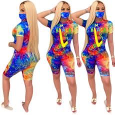 Fashionable tie dye printed Jumpsuit (without mask)