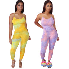 Gradient suspender vest Jumpsuit