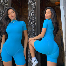 Fashion casual sports solid color Jumpsuit