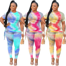 Two piece multi color pleated print set