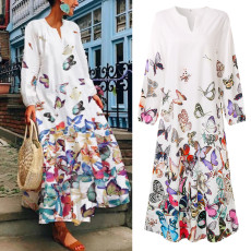 Round neck retro butterfly positioning print dress