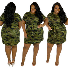 Sexy crew neck short sleeve camouflage print dress