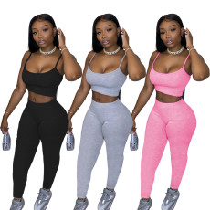 Two piece set of plain suspender pants for leisure sports
