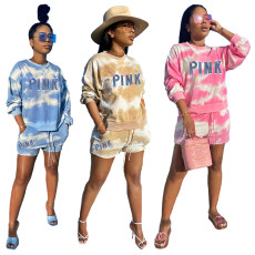 Two piece tie dye set for casual printed women's wear