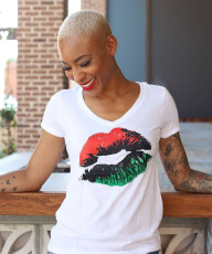 Printed lips short sleeve T-shirt