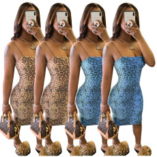 Fashionable and Sexy Leopard print two color lace dress