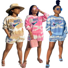 Fashion casual tie dyed rib 2-piece set