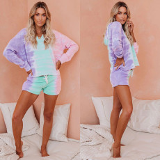 Home casual tie dye drawstring suit