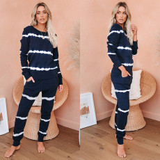 Casual stripe two piece set