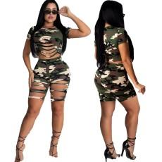 Fashion camouflage print two piece set