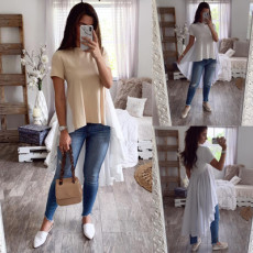 Fashion short sleeve front short back long tail versatile top