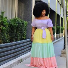 Plain shoulder ruffled cake skirt with belt