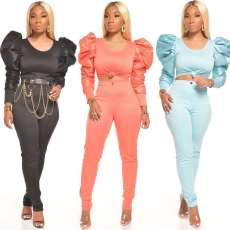 Two piece set of solid color with bubble sleeves