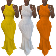 Sexy solid color pit stripe fishtail dress