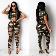Two piece sexy hole camouflage casual pants