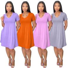 Loose + pocket solid dress