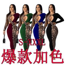 Leopard stitching sexy fashion dress