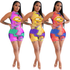 Fashion casual sport tie dyed lip Love Print slim Jumpsuit