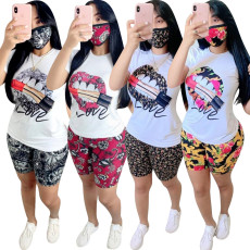 Casual lip print Pant Set (without mask)