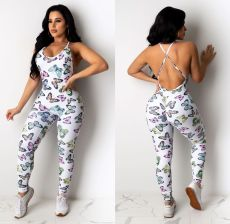 Skinny sexy off back sleeveless butterfly print Jumpsuit