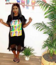 Fashion offset pattern dress