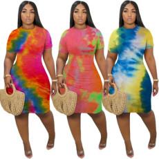 Cute tie dye Tight Sexy Dress