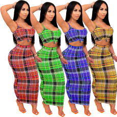 Two piece sleeve less Plaid print with suspender