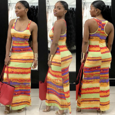 Fashion Sexy Lovely colorful long dress with suspenders
