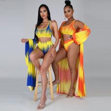 Swimsuit printed split Triangle Bikini three piece set