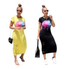 Fashionable big mouth print dress