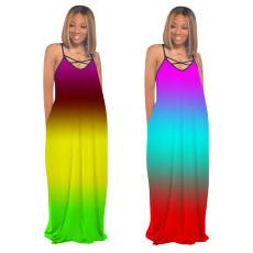 Gradient tie dye V-neck suspender dress