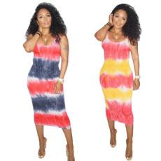 Halter tie dye Hip Wrap Dress