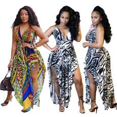 Fashion printed lace up sexy dress