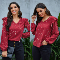 Chiffon shirt Ruffle V-Neck long sleeve Vintage Polka Dot Shirt