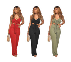 Casual solid color sleeveless open back wide leg pants