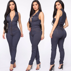 Fashionable casual sexy button jeans Jumpsuit