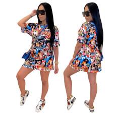 Casual graffiti print dress