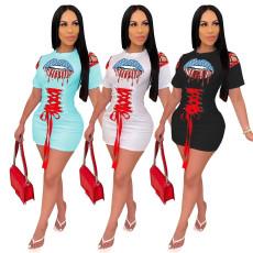 Fashionable machine eye bandage print waist dress