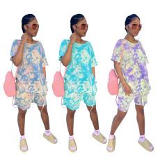 Casual tie dye sport cotton loose short sleeve Shorts Set