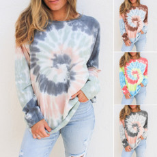 Crew Neck Long Sleeve printed sweater loose top
