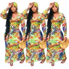 Digital print Bohemian Long Sleeve Dress