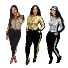Fashionable multi color Sequin stitching zipper suit (including lining)