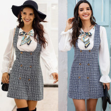 Fashion strap skirt double breasted Plaid one-step skirt